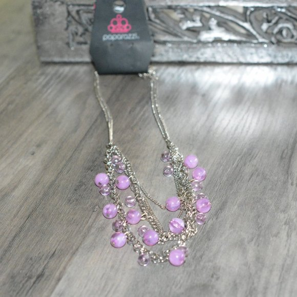 PAPARAZZI Silver Layered Purple Bead Chain Necklace